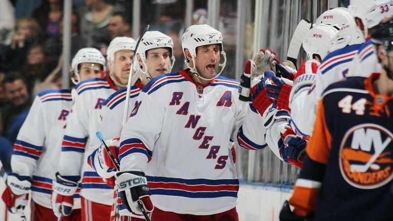 Vaclav Prospal #20 of the New York Rangers