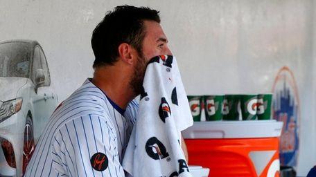 Matt Harvey of the Mets sits in the