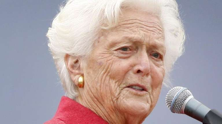 Former first lady Barbara Bush speaks at a