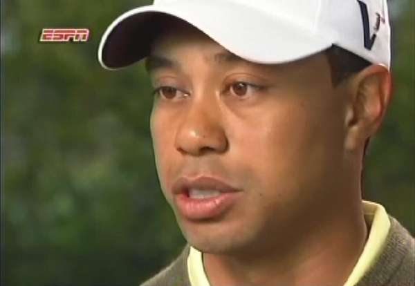 In a photo from video, Tiger Woods speaks
