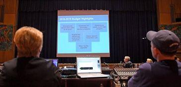 Huntington Schools Superintendent James Polansky presents the proposed