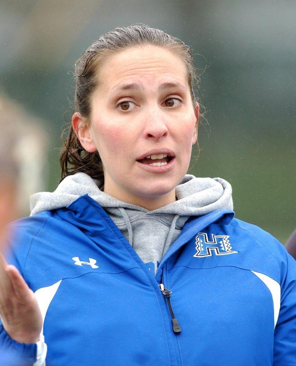 Hauppauge's Girls Lacrosse head coach Abigail Zeltmann, during