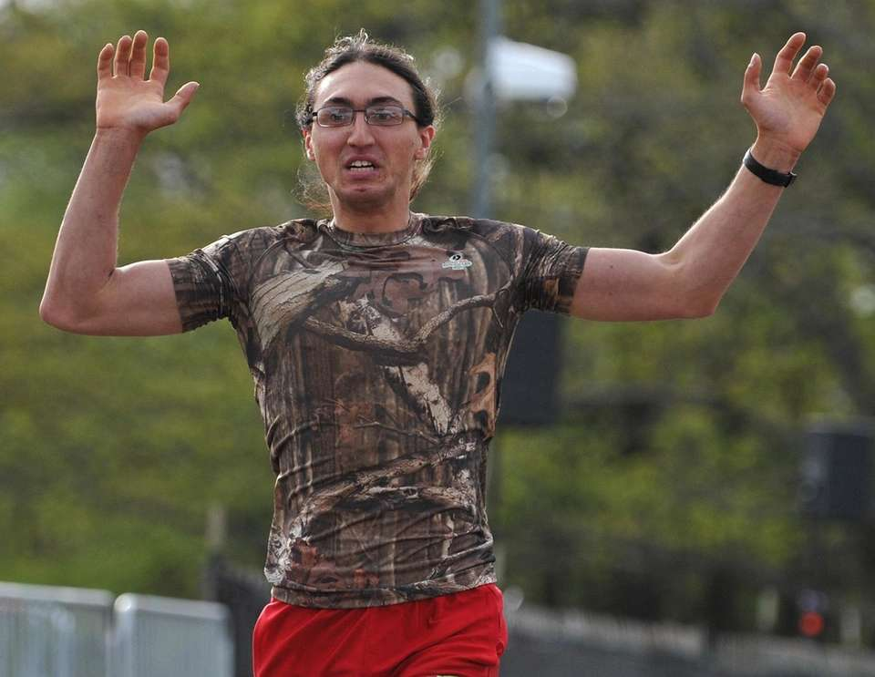 Peter Notarnicola, 23, of Massapequa reacts after winning