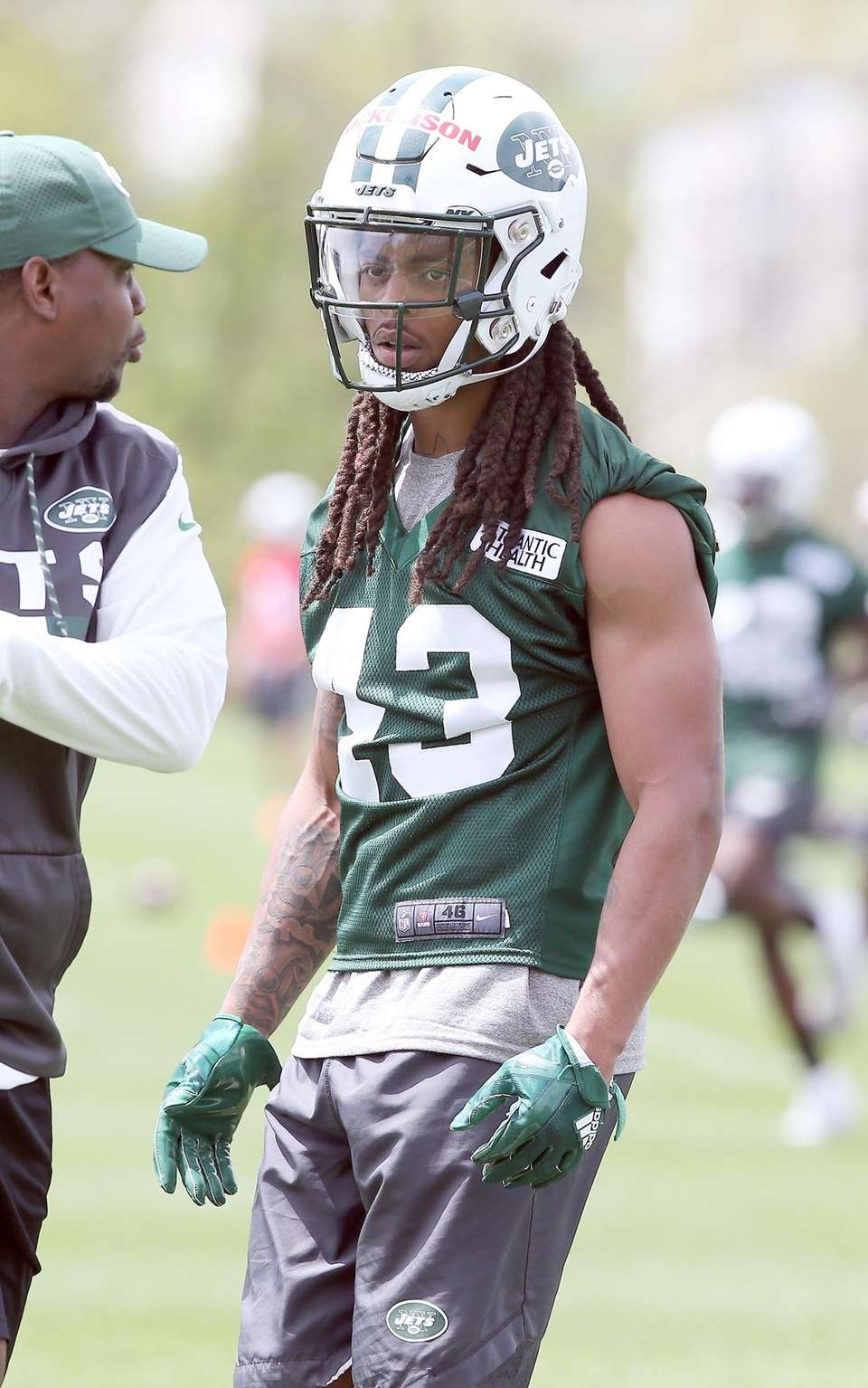 Parry Nickerson on the practice field during the