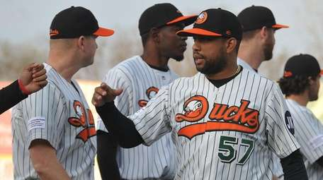 Newly signed Long Island Ducks pitcher Francisco Rodriguez