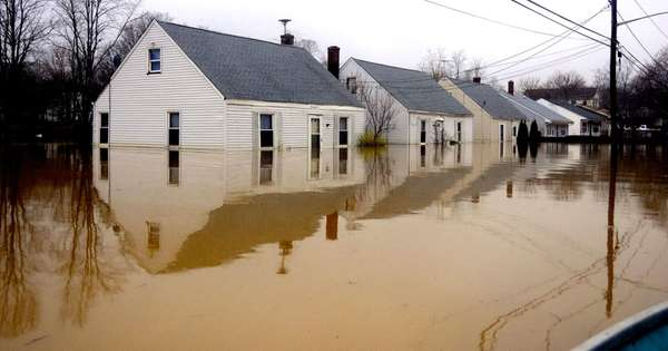 Homes are flooded on Horton Avenue in Riverhead,