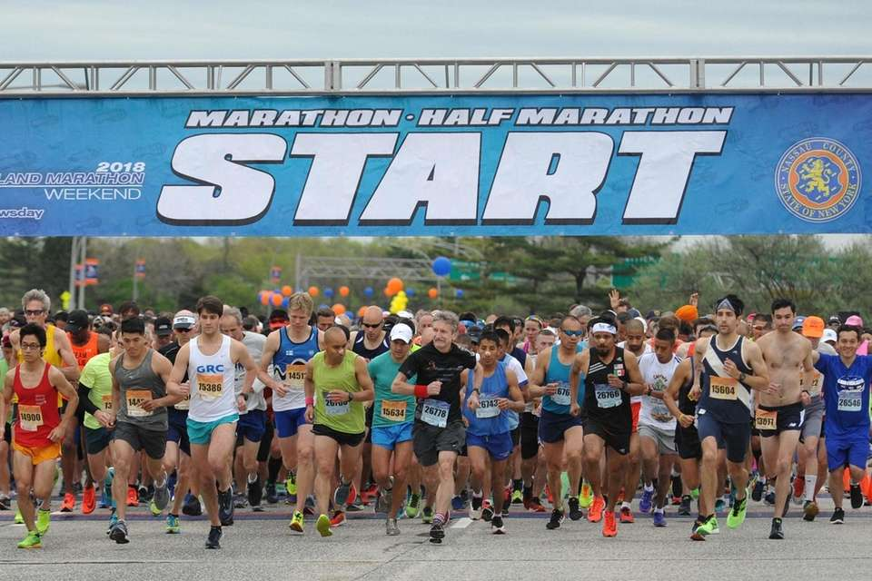 The Long Island Marathon gets underway as runners