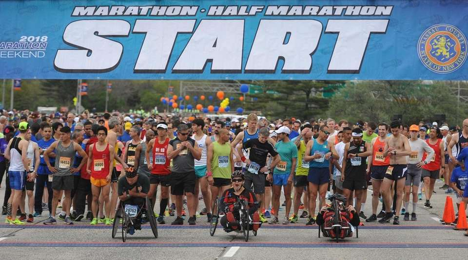 Participants in the Long Island Marathon line up