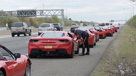 Suffolk police pull over a caravan of Ferraris