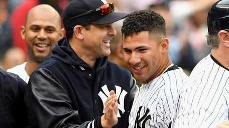 Yankees second baseman Gleyber Torres is greeted by