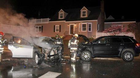 The scene of an alleged drunken driving crash
