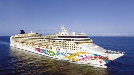 The Norwegian Jewel, with a bowling alley, rock-climbing
