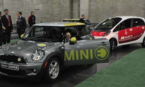 Mini E Mitsubishi iMiev at the New York
