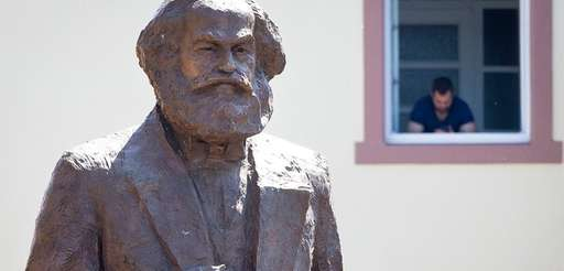 A bronze statue of Karl Marx is unveiled