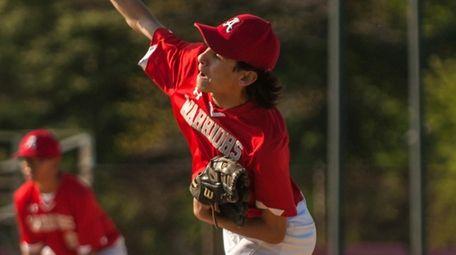 Amityville pitcher Trevor Grahn throws against East Hampton