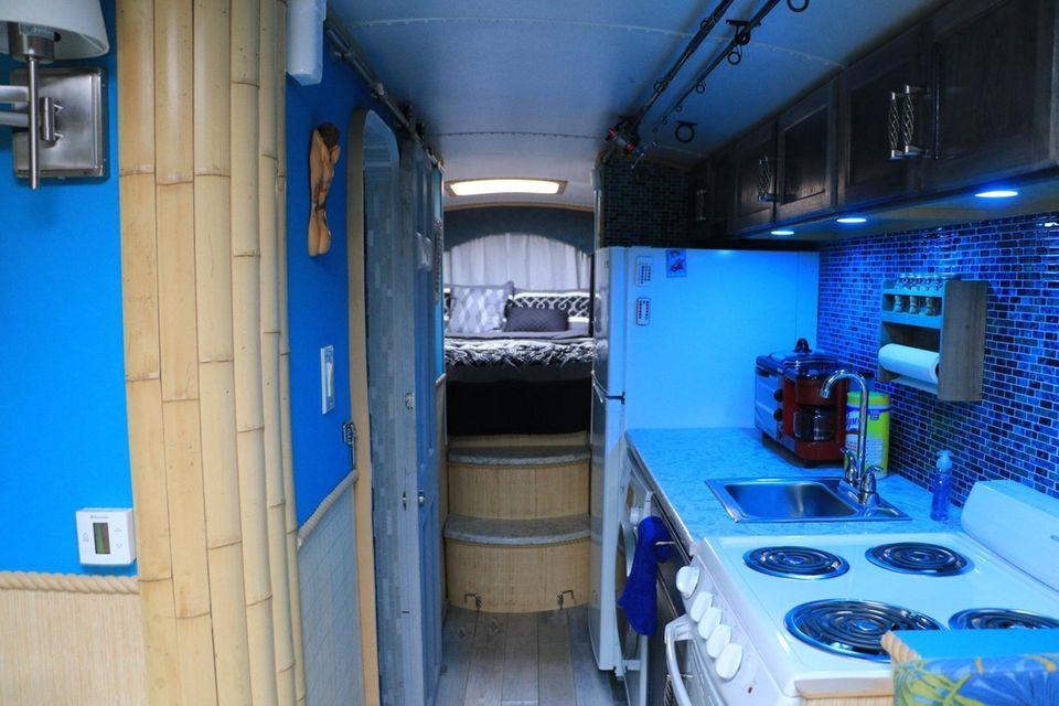 A hallway in Bill Skinner's converted school bus