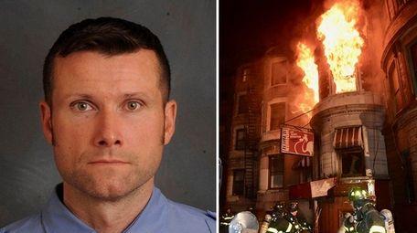 Left, FDNY firefighter Michael R. Davidson, of Floral
