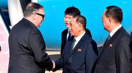 Secretary of State Mike Pompeo is greeted by