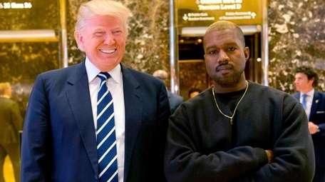 Then-President-elect Donald Trump and Kanye West in the