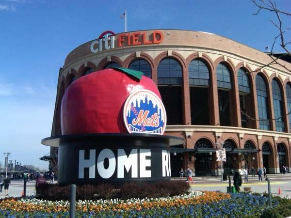 Right outside Citi Field on Opening Day.