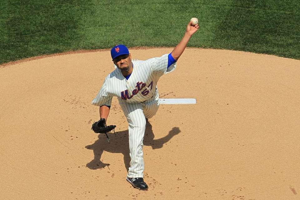 Johan Santana pitched six innings for the Mets
