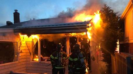Firefighters respond to a blaze Wednesday night at