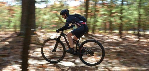 Cyclist Maria Smit, 38, of Syosett, rides along