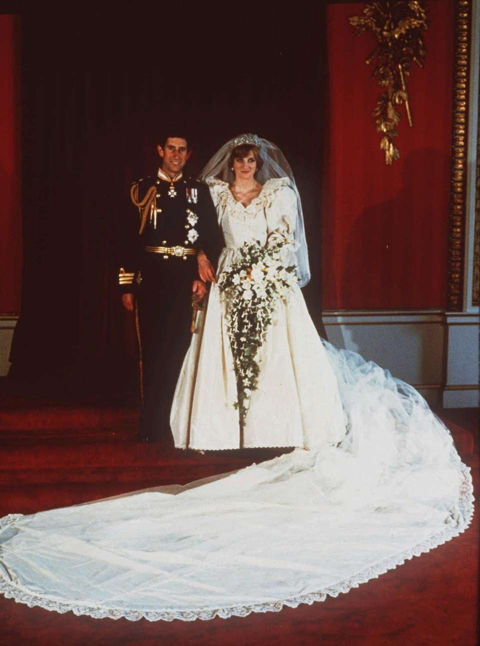 Prince Charles and Princess Diana pose for their