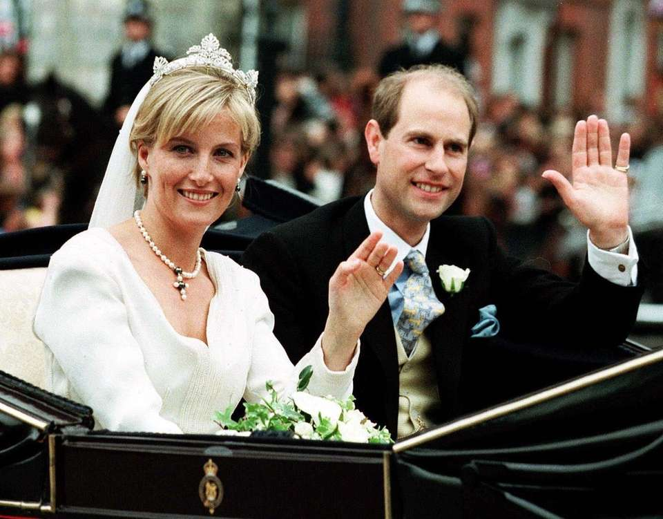 Prince Edward and Sophie Rhys-Jones during a carriage