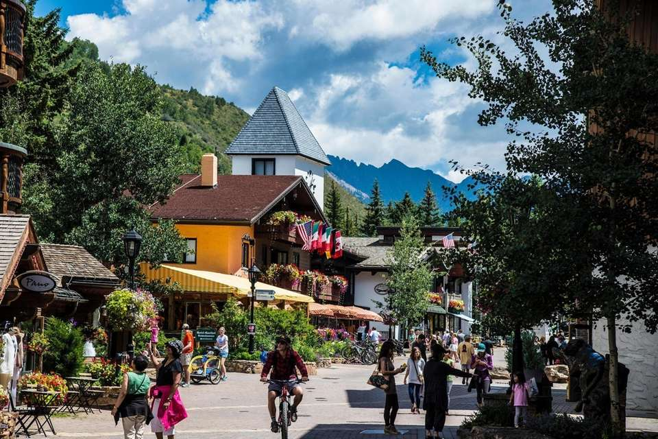 Street Scene in Vail Colorado looking toward the