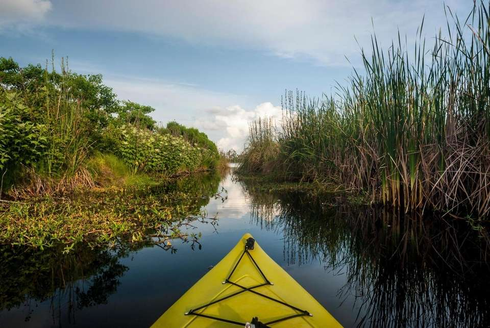 Kayaking in Gulf State Park in Alabama, along