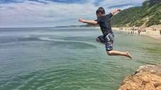 Logan Canonico, 6, of Wading River, takes a