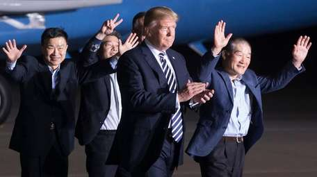 President Donald Trump meets Thursday with three