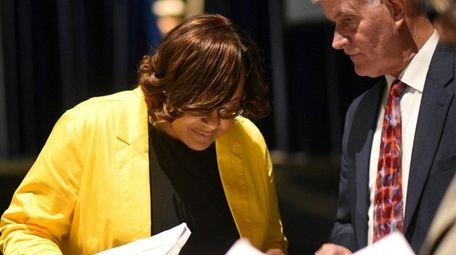 Acting Hempstead schools Superintendent Regina Armstrong looks over