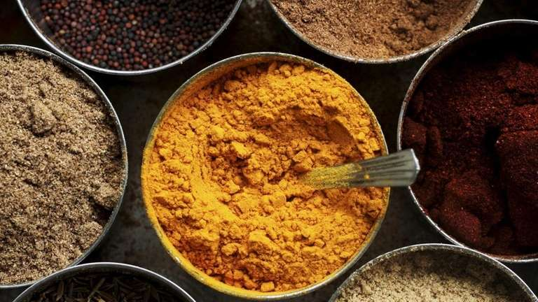 Curry ingredients can include turmeric, coriander, pepper, fennel
