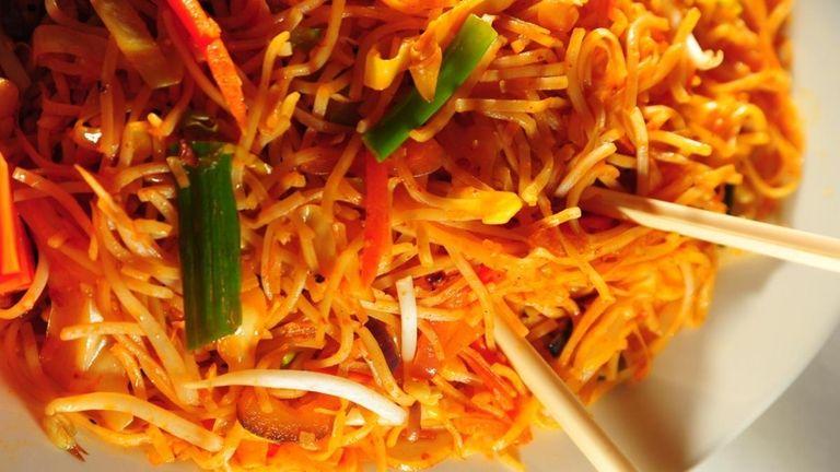 Chilli garlic noodles at Chilli & Curry restaurant