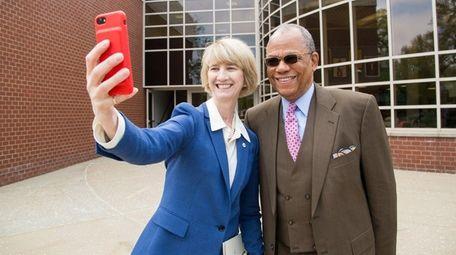 SUNY Chancellor Kristina M. Johnson snaps a selfie