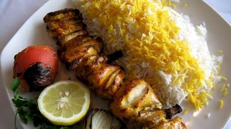 Jujeh kabob, guinea hen marinated in lemon and