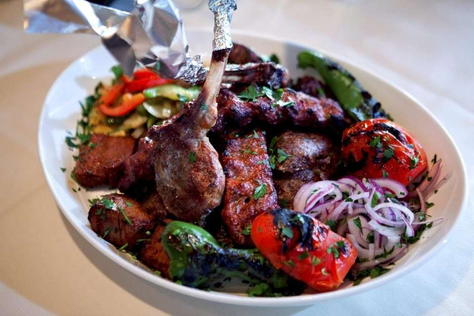 The mixed kebab platter is served with grilled