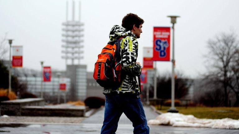 Students walk to class on Stony Brook University's