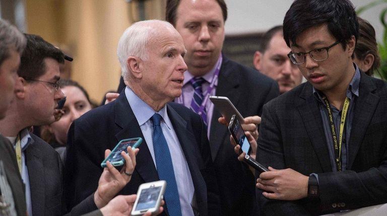 Sen. John McCain speaks to reporters last April