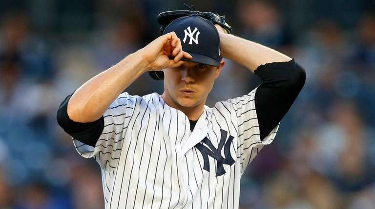 Yankees pitcher Sonny Gray stands on the mound