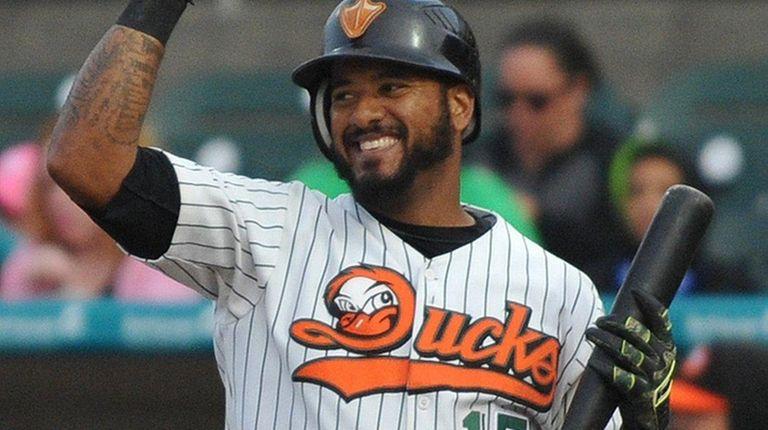 Jordany Valdespin #15 of the Long Island Ducks