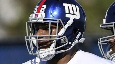 Giants nose tackle Tyrell Chavis participates in drills