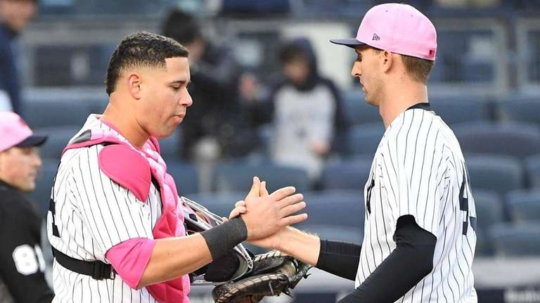 Yankees catcher Gary Sanchez and relief pitcher Chasen