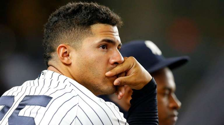 Gleyber Torres of the Yankees looks on during