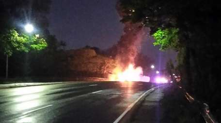 A truck fire on the eastbound Sunrise Highway