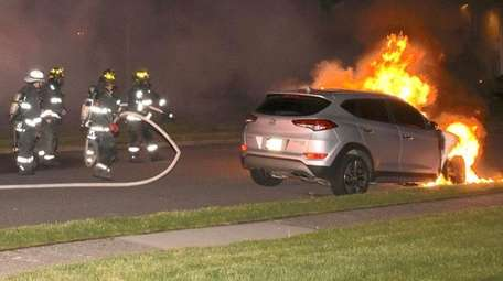North Lindenhurst firefighters on scene of car fires