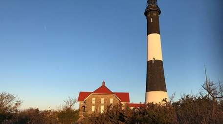 Historic Fire Island Lighthouse, seen here on April