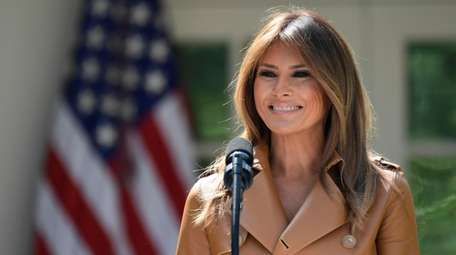 First lady Melania Trump speaks in the Rose